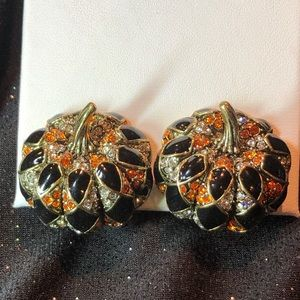 New Heidi Daus Harlequin pumpkin earrings clip on